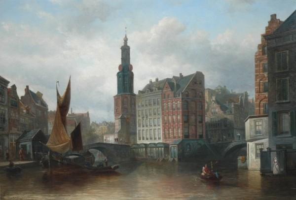 Elias Pieter van Bommel, 1819-1890, Gezicht op de Munttoren, Amsterdam, 1883.