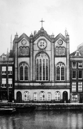 Amsterdam, de RK Schuilkerk Boompjeskerk 1844, gesloopt 1911