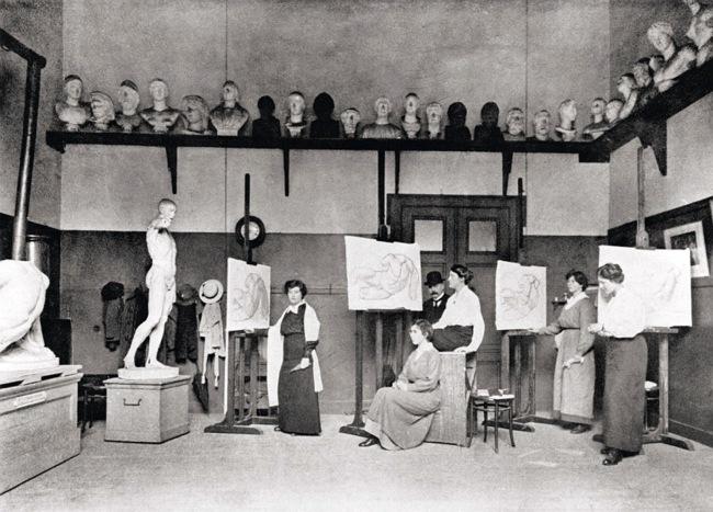 Dake, Carel Lodewijk (1857-1918) (-) met de damestekenklas aan de Rijksacademie van Beeldende Kunsten, Stadhouderskade 86 te Amsterdam