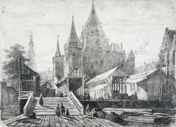 Gezicht op de Nieuwmarkt te Amsterdam, Lambertus Hardenberg (1822-1900), in of voor 1849