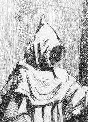 monnik bij kruisbeeld