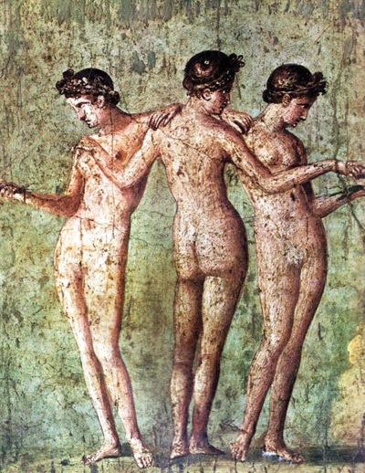 005 Romeins fresco 1e eeuw BC uit Pompeii archeologisch museum Naples