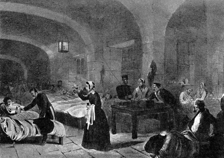 """A picture of Florence Nightingale (1820-1910), """"The Lady with the lamp"""", the English nurse, famous for her work during the Crimean War, is seen here in the hospital at Scutari, Turkey (Photo by Popperfoto/Getty Images)"""