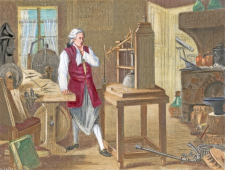 Illustration depicting James Watt in his laboratory studying improvements for the steam engine. Undated hand-colored engraving. --- Image by © Bettmann/CORBIS