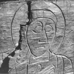 detail van Cuthbertus zijn tome in Durham Cathedral